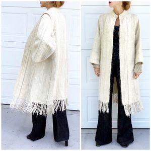 Lagenlook Long Thick Oversized Wool Fringe Coat